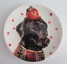 "MAGENTA Black Labrador Dog 6"" Appetizer Canape DESSERT Plates Set 4 NEW"