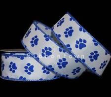 """10 Yards Pawprint Paw Print Dog Blue Wildcat Wired Ribbon 1 1/2""""W"""