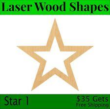 Star 1 Laser Cut Out Wood Shape Craft Supply - Woodcraft Cutout