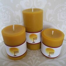 "Handmade 100% Beeswax Candles - set of three, 3"" wide pillars"