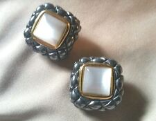 """Premier Designs alabaster gold/silver tone comfort squeeze clip earrings. 3/4"""""""