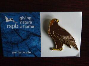 RSPB GNaH golden eagle metal Pin Badge on Blue FR card