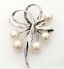 MIKIMOTO Authentic Japanese Sterling Silver & Akoya Pearl Brooch in Box