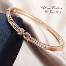 18K Rose Gold Filled Simulated Diamond Studded Bow Bangle