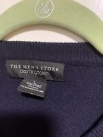 Bloomingdale's Men Blue Long Sleeve Crewneck Cashmere Sweater, Sz L
