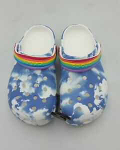 Children's Kids CROCS CLASSIC CLOGS Sandals Blue Cloud Rainbow Size c12