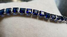 Ross Simon Sterling silver bright sapphire blue princess cut tennis Bracelet