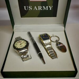 US Army Gift Box Set With 2 Watches, Pen & Keychain New Old Stock