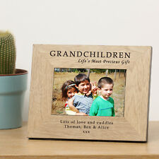 Grandchildren Wooden Photo Frame 7x5 - Personalised Engraved Gift