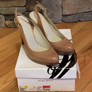 NEW Nine West Ricci Taupe Leather Sling Back High Heel Natural Leather Sz 6.5