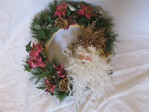 """11"""" Christmas Door Wreath Gold Pine Cones~Pink Poinsettias~Santa~Frosted pine"""