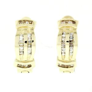 14k Yellow Gold 0.60ctw Multi Channel Baguette Cut Diamond Huggie Hoop Earrings