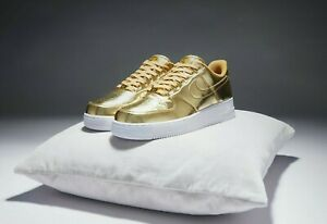 NEW Ladies Girls Boys Nike Air Force 1 Trainers Rare Liquid Gold White UK Size 3