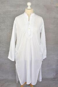 "FABINDIA White cotton shift embroidered Indian kurta kaftan dress Sz 42 24"" PIT"