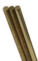 K & S  1/8 in. Dia. x 12 in. L Round  Brass Rod  1