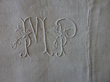 """DRAP DE PENSION ANCIEN en  LIN et COTON mono """" M P """" 1m78 / 2m96 6 1kg472"""