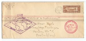 U.S.A. 1930 LONG ZEPPELIN FLOWN COVER USED $1.30 ZEPPELIN