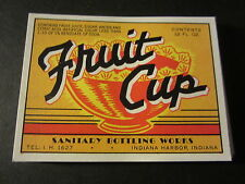 Wholesale Lot of 100 Old - FRUIT CUP - Soda Bottle LABELS - Indiana Harbor IN.