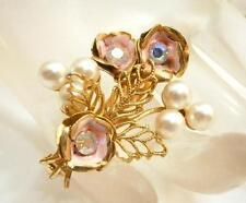 Beautiful Vintage 1950's Aurora Rhinestone Pink Enamel Flower Brooch       1051j