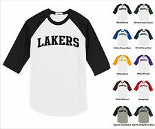 Lakers College Letter Team Name Raglan Baseball Jersey T-shirt