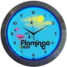 Neon Clock Sign Flamingo Diner Kitchen Florida Bar 50's retro wall lamp light