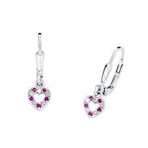 Prinzessin Lillifee Mädchen Ohrringe Herz Steine rosa pink Ohrhänger Silber 925