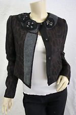 $338 BCBG DARK JAVA (MUM4B290) LONG SLEEVE WOVEN JACKET TOP NWT XXS