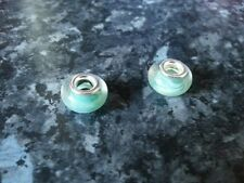 SILVER PLATED GREEN GLASS BEAD FOR EUROPEAN CHARM  BRACELET