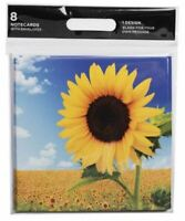 WHSmith Sunflower Flowers Blank Notecards + Envelopes All Occasions Pack Of 8