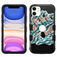 """for iPhone 11 (6.1"""") Hybrid Rugged Impact Armor Case Miami Dolphins #G"""