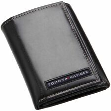 New Tommy Hilfiger Cambridge Men's Black Leather Trifold Wallet 5676/01 GRADE A