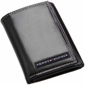 New Tommy Hilfiger Cambridge Men's Black Leather Trifold Wallet 5676/01 GRADE A