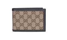 "Gucci Men's ""GG"" Canvas Leather Bi Fold Wallet"