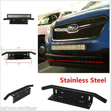 Universal Bull Bar Front Bumper License Plate Holder Mount LED Fog Light Bracket