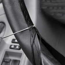DIY Car Genuine Leather Steering Wheel Cover Needles+Black Thread 38cm Universal