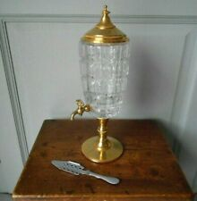 French Vintage BRASS Cutted Glass ABSINTHE FOUNTAIN  + SPOON