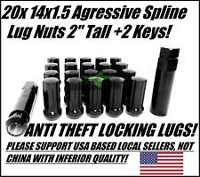 20 BLACK SPLINE LUG NUTS 14X1.5   FITS DODGE CHALLENGER CHARGER CHEVY CAMARO 08+