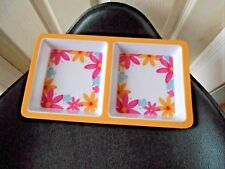 """MELAMINE HARD PLASTIC FLORAL RECTANGLE DIVIDED PLATE TRAY SERVING 12"""" X 7"""""""