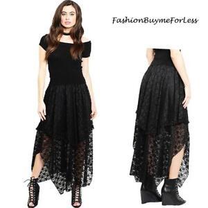 Black Lagenlook Goth Steampunk Victorian Ruffle Lace Asymmetric Maxi Skirt S M L