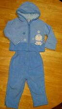 Carter's Blue Cute Baby Fleece Warm PJs Pajama Fall Winter Pants Set 12 months