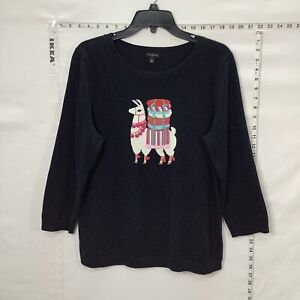 Talbots Sweater Navy Blue Llama Alpaca Christmas L