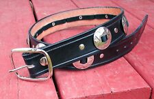 "48"" HANDMADE 1 1/2"" WIDE BLACK LEATHER BELTS WITH CONCHOS AND ATTACHED BUCKLE."