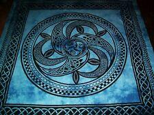 Indische Tagesdecken große Tücher Motiv Celtic Wheel blau