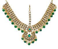 Indian Wedding Bridal Pearl Gold Kundan Matha Patti Head Chain Mang Tika Jewelry