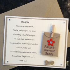 Thank You Poem Gift Magnet. Pre-school Nursery Teacher Assistant Forget-me-not