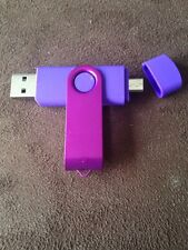 Purple 16GB USB 2.0 and micro usb Flash Pen Drive Memory Stick Rotary Thumb Key