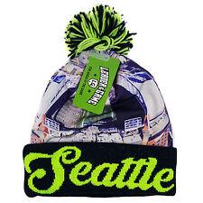 SEATTLE Winter Picture Pom Beanie Skull Cap Hat