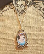 Snow White Cameo Handmade Necklace Disney Princess Cute Gift Red Bow Flower