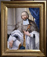 Antique 18th Century Baroque Oil Painting on Canvas : Saint King or Franciscan