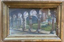 Magnifique Tableau peinture à l'Aquarelle par l'artiste patio de couvent encadré